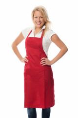 Frau mit roter Schürze