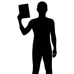 Silhouette man holding paper, vector format