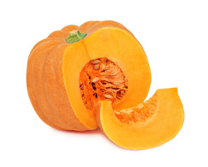 Half of ripe pumpkin and one slice (isolated)