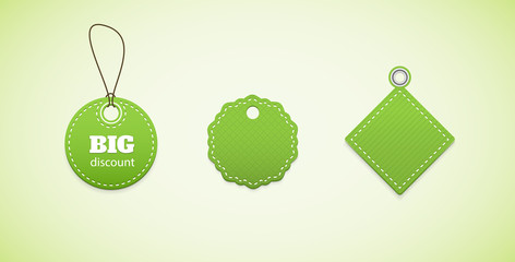 Green price tags, labels. Several labels in a simple form.