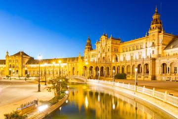 Sevilla plaza Spain at dusk