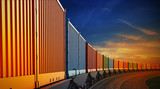 wagon of freight train with containers on the sky background - 76809417