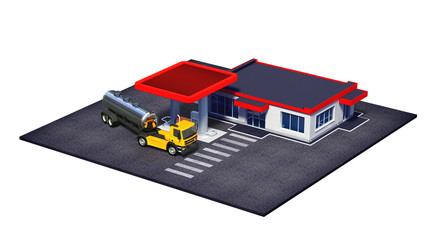 gas station with fuel semi truck and mini-mart or coffe shop
