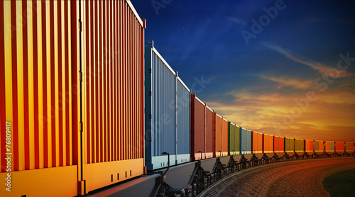 Leinwandbild Motiv wagon of freight train with containers on the sky background