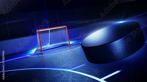 Hockey ice rink and goal - 76809461
