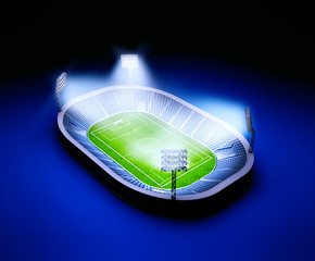 Stadium with soccer field with the lights