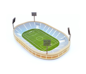 Stadium with soccer field with the light stands