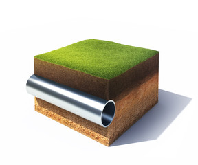Section of ground with grass and steel pipe