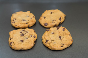Four Fresh Baked Chocolate Chip Cookie