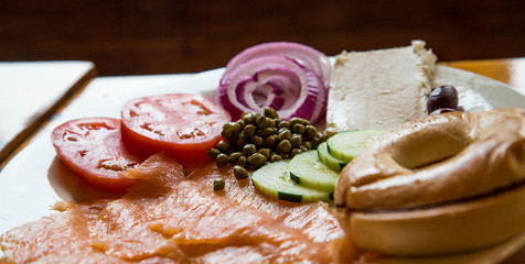 Lox and Bagel Plate in Window LIght