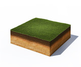 isometric cross section of ground with grass - 76810083