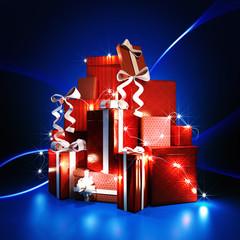 Gift boxes on dark blue background