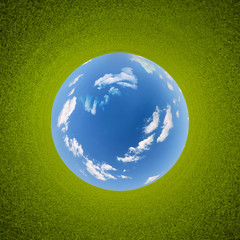 3d planet panorama of grass around sky sphere