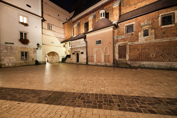 Mariacki Square at Night in the Old Town of Krakow