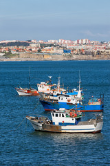 Fishing Boats on the Atlantic Ocean in Portugal