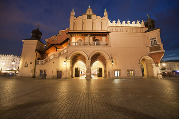Cloth Hall Side View at Night in Krakow