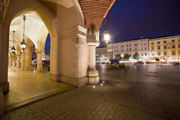 Krakow Old Town in Poland at Night
