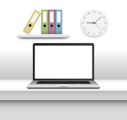 Laptop with blank screen on office desk. Vector Illustration.