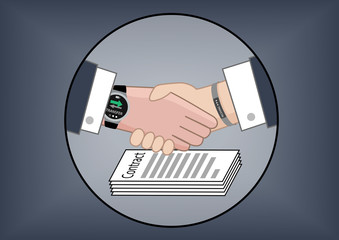 Mobile payment by business partners over contract negotiation