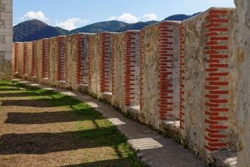 Converging crenelations of Celje castle in Slovenia
