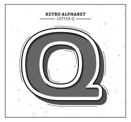 Retro style big letter Q icon
