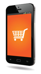 Realistic smartphone with shop cart icon display