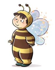niña con disfraz de abeja