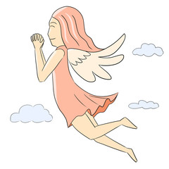 cartoon woman isolate pink angel