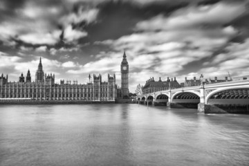 Blurred movements along Westminster Bridge, London