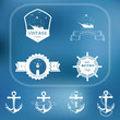 Set of nautical and maritime adventure vector labels.