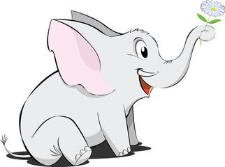 Elefantino con fiore