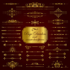 Page Dividers and ornate headpieces in gold