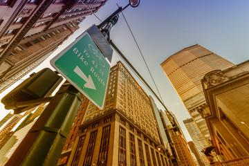 Stunning skyline of New York as seen from street level