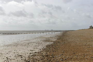 low tide on shingle beach at New Romney