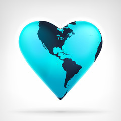 America earth globe shaped as heart at modern graphic design