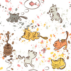 Pattern of funny cats, seamless