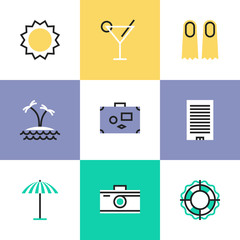 Summer vacation pictogram icons set