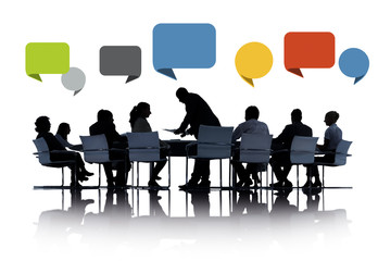 Business Meeting Conference Sharing Speech Bubbles Concept