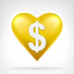 Dollar coin shaped as golden heart at modern graphic design