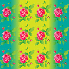 Bright color seamless pattern with beautiful roses