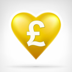 Pound coin shaped as golden heart at modern graphic design
