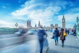 Fototapety Blurred people moving on Westminster Bridge, London