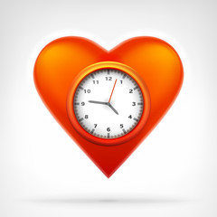 time clock circle in heart symbol at modern graphic design