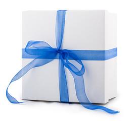 white box packing paper blue bow ribbon