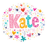 Kate female name decorative lettering type design poster