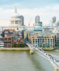 Magnificence of Saint Paul Cathedral and Millennium Bridge, Lond