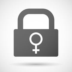 Lock icon with a female sign