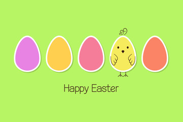 Colorful Easter eggs in paper cutout style with doodle chicken