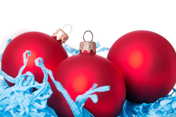 Three red Christmas ball