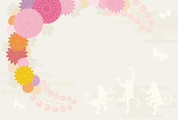 猿と花のリース